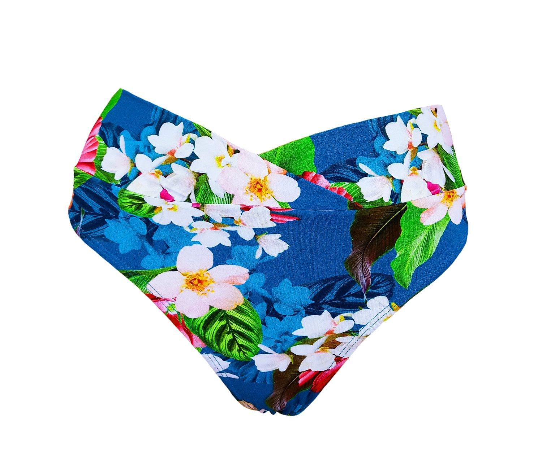 Calcinha Jovem Com Barra em V Azul Floral