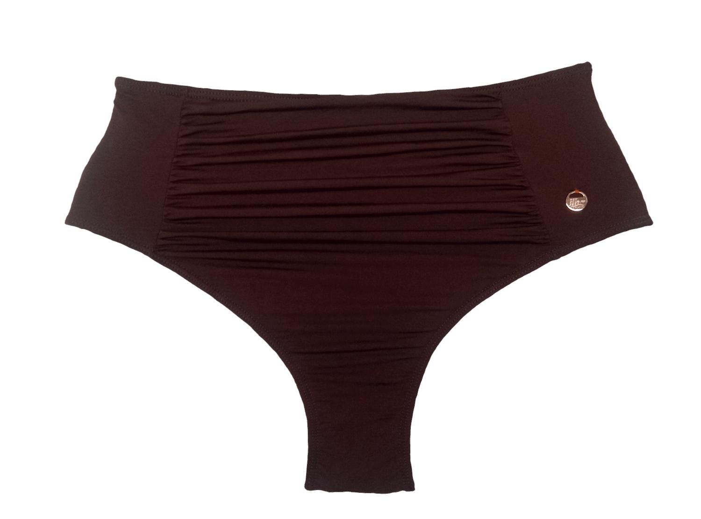 Hot Pants Com Recorte Franzido Marrom