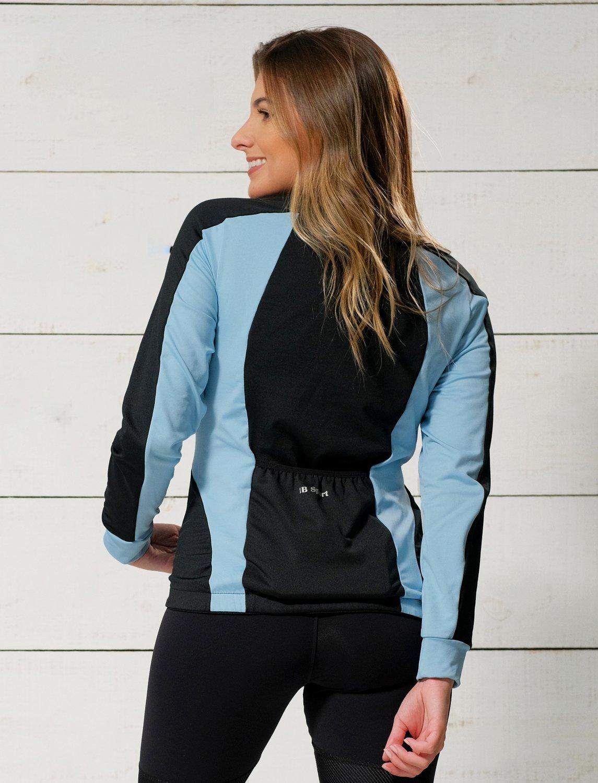 Jaqueta Ciclismo Recortes Preto e Azul Céu