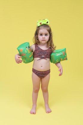 Conjunto Infantil Sutiã Com Laço Animal Print Rosa