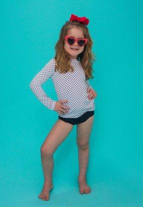 Blusa Infantil Com Proteção UV Poá Preto e Branco