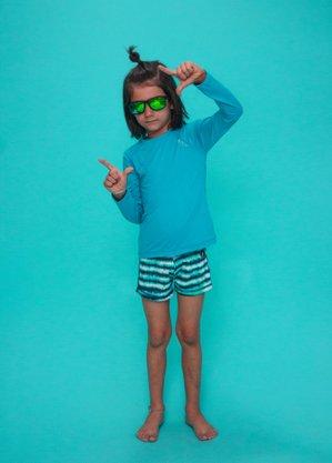 Blusa Infantil Proteção UV Azul Turquesa