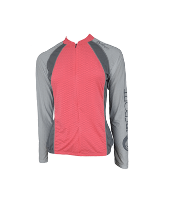 Camisa De Ciclismo Manga Longa Feminina Rosa Neon
