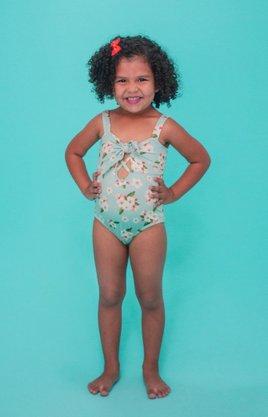 Maiô Infantil Com Amarração Floral Branco