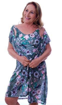 Camisa Curta Com Botões Flores