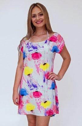 Vestido De Viscolycra Tie Dye Flores