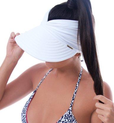 Viseira Turbante Com Proteção UV Branca