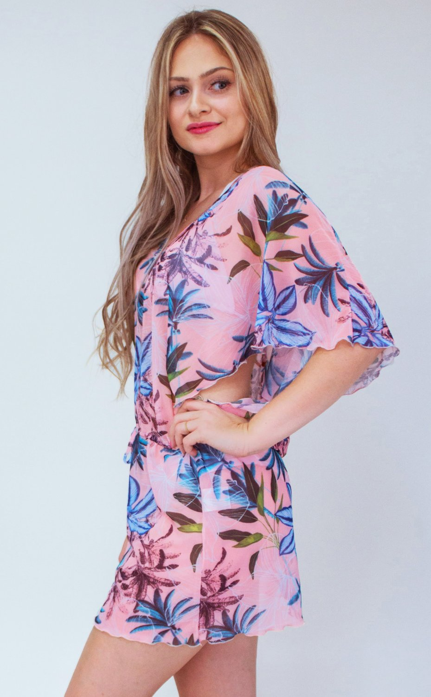 Saída de Tule Floral Rosé