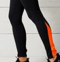 Calça Legging Preta Com Recorte Laranja Neon