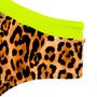 Calcinha Animal Print Onça com Barra Verde Neon
