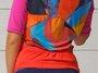 Camisa de Ciclismo Estampa Laranja Com Trama