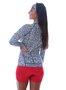 Camisa De Ciclismo Feminina Animal Print Azul