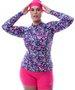 Camisa De Ciclismo Feminina Floral Azul