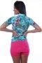 Camisa De Ciclismo Feminina Floral Verde