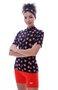 Camisa De Ciclismo Feminina Mini Flores Vermelhas