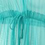 Saída De Praia Infantil Com Pompom Azul Turquesa
